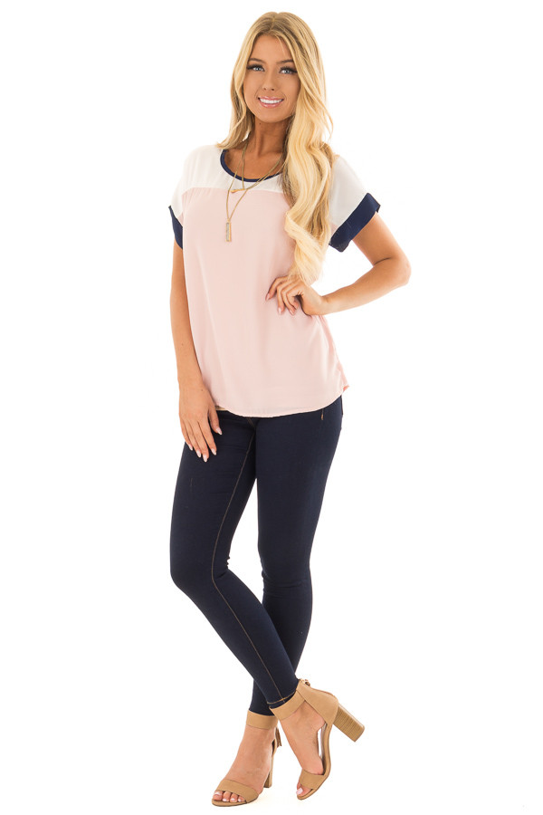 Blush and White Color Block Top with Navy Detail front full body