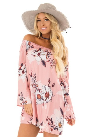 Blush Floral Print Off Shoulder Dress with Tie Detail front close up