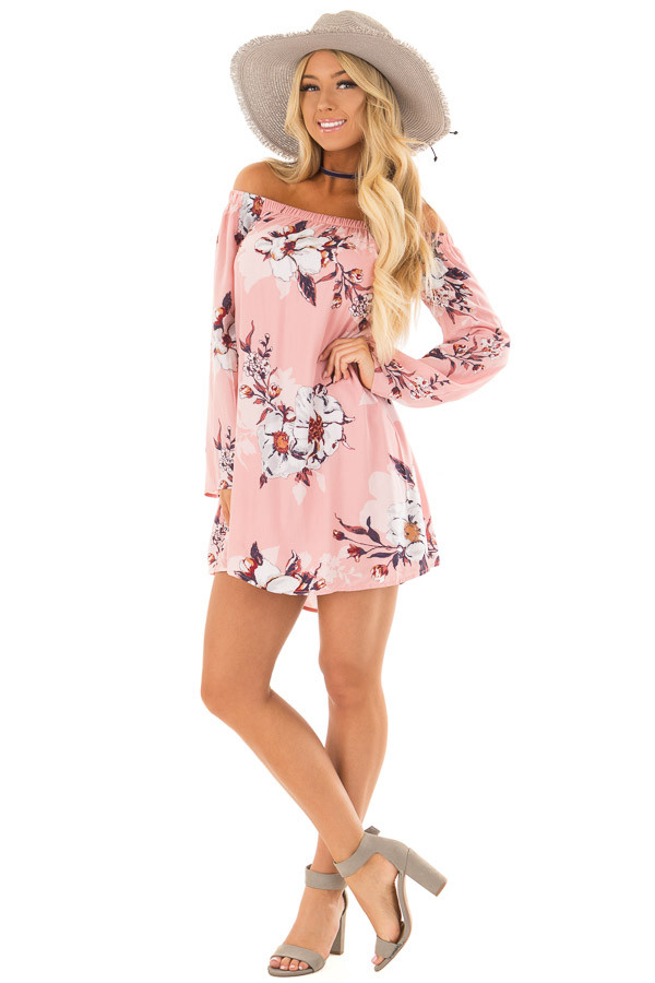 Blush Floral Print Off Shoulder Dress with Tie Detail front full body