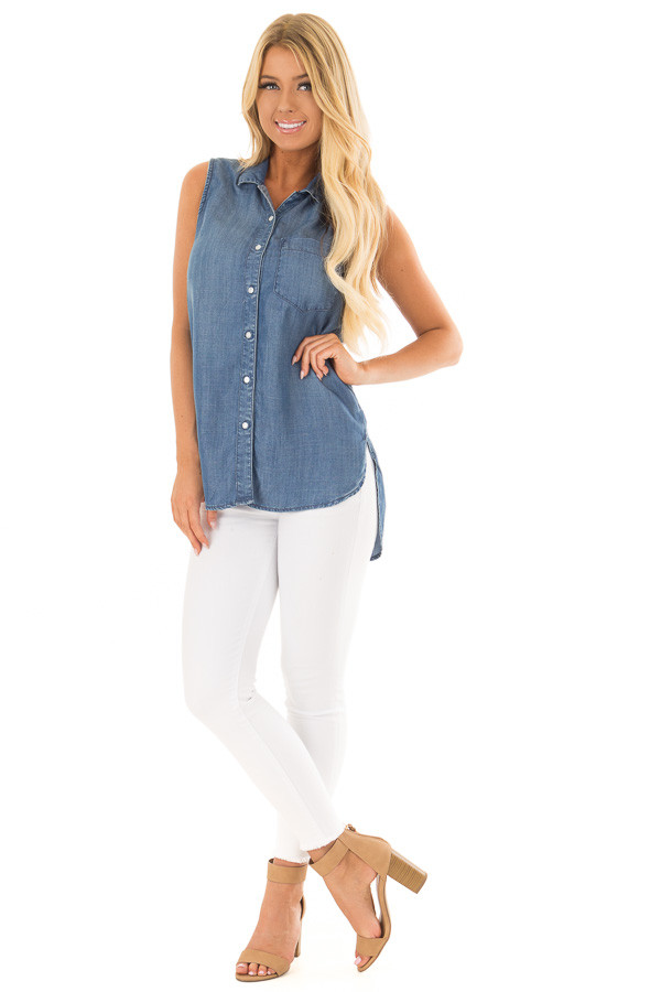 Chambray Button Up Sleeveless Top with Split Hem front full body