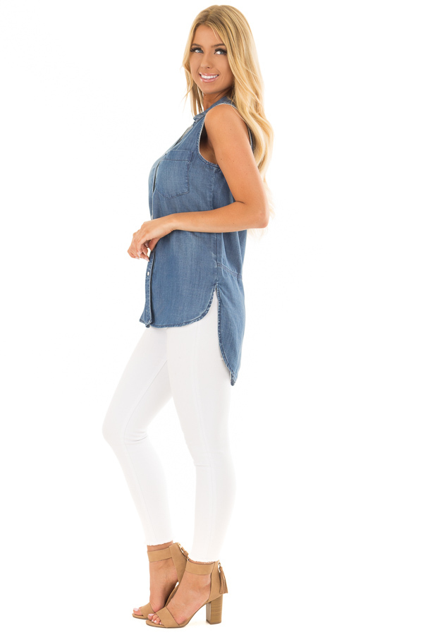 Chambray Button Up Sleeveless Top with Split Hem side full body