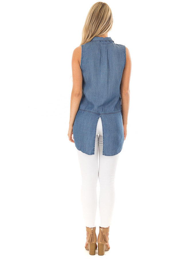 Chambray Button Up Sleeveless Top with Split Hem back full body