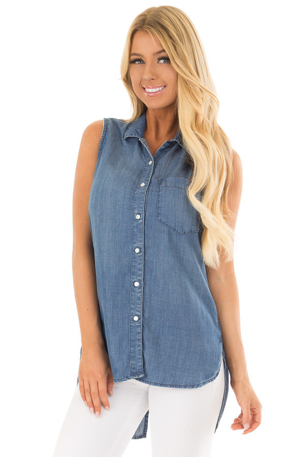 Chambray Button Up Sleeveless Top with Split Hem front close up