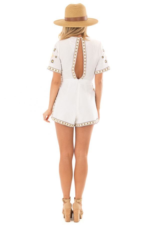 Ivory Open Back Romper with Embroidery Detail back full body