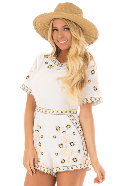 Ivory Open Back Romper with Embroidery Detail front close up