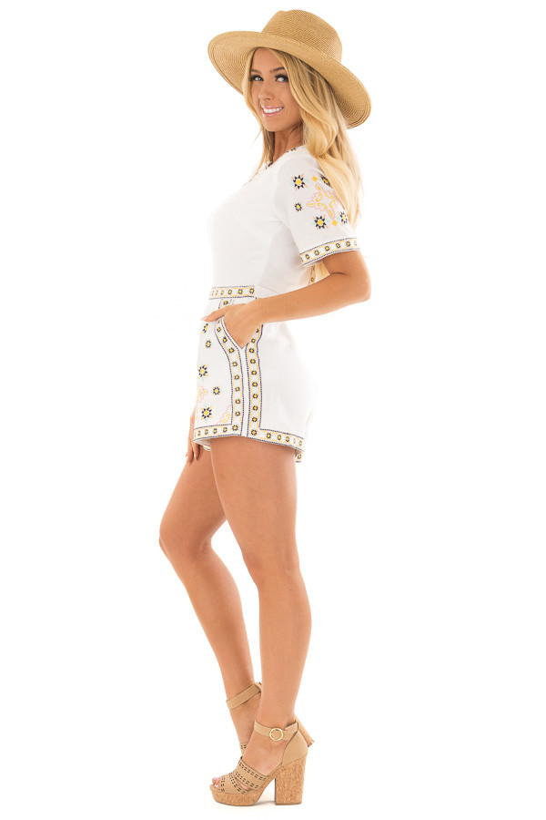 Ivory Open Back Romper with Embroidery Detail side full body