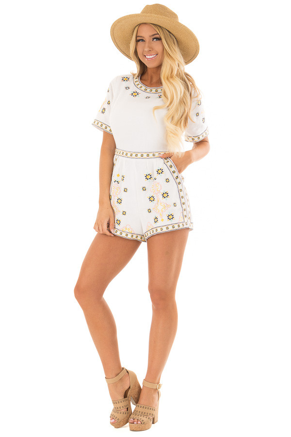 Ivory Open Back Romper with Embroidery Detail front full body