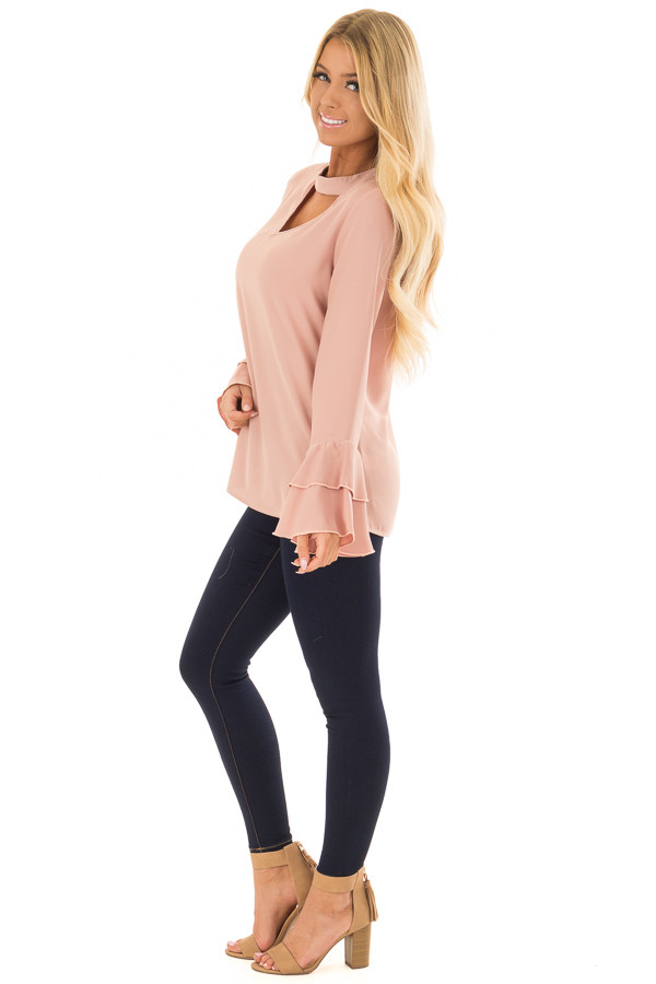 Dark Rose Blouse with Choker Cut Out and Tiered Bell Sleeves side full body
