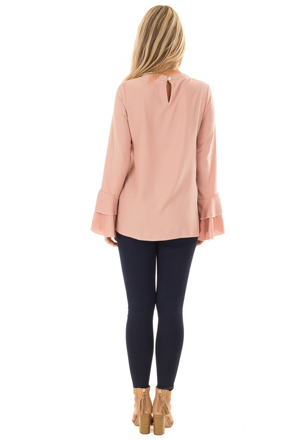 Dark Rose Blouse with Choker Cut Out and Tiered Bell Sleeves back full body