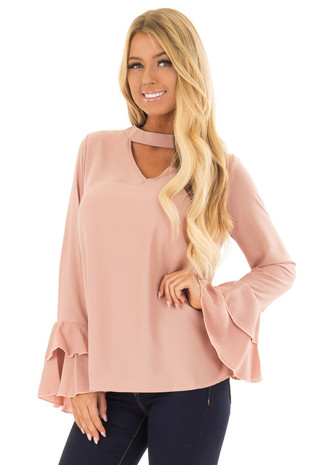Dark Rose Blouse with Choker Cut Out and Tiered Bell Sleeves front closeup