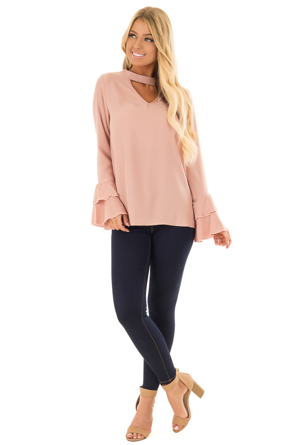 Dark Rose Blouse with Choker Cut Out and Tiered Bell Sleeves front full body