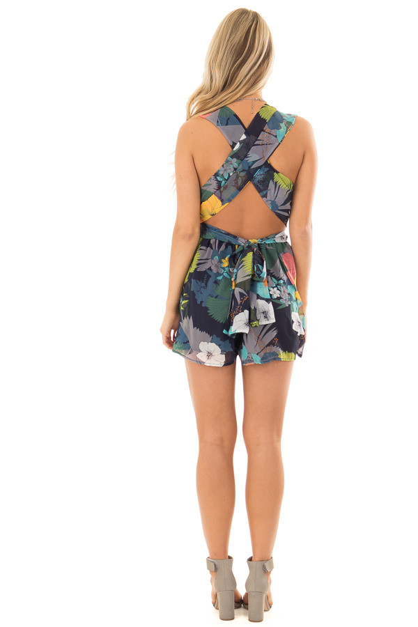 Navy Tropical Floral Print Romper with Plunging Neckline back full body