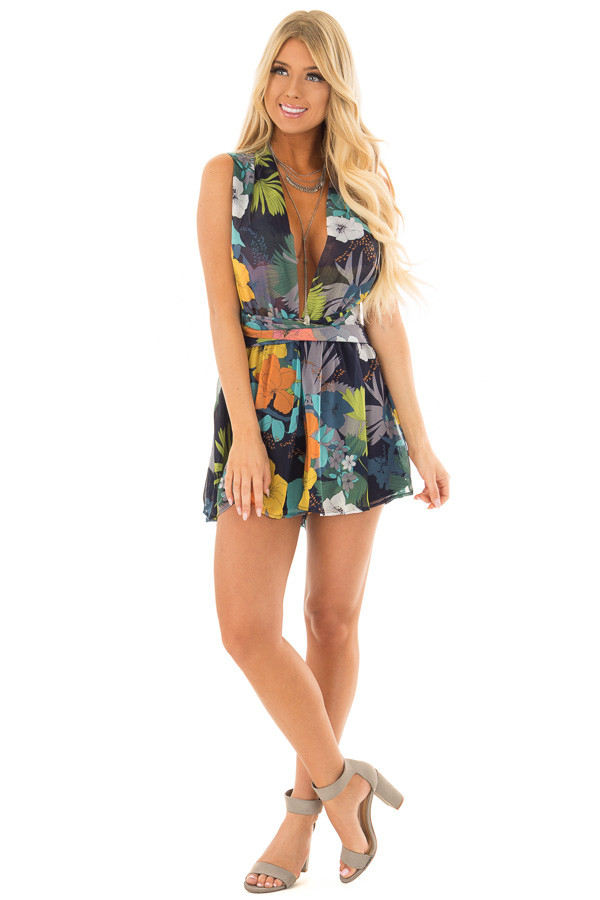 Navy Tropical Floral Print Romper with Plunging Neckline front full body