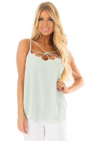 Mint Spaghetti Strap Top with Strappy Neckline front closeup