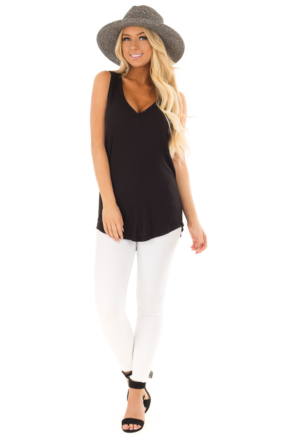 Black Ribbed Knit Buttoned V Neck Tank Top front full body