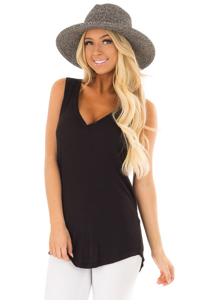 Black Ribbed Knit Buttoned V Neck Tank Top front closeup