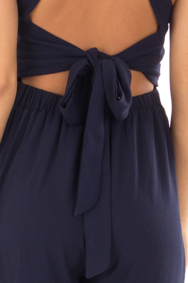 Navy Halter Jumpsuit with Cutout Detail back detail