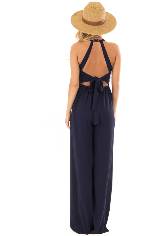 Navy Halter Jumpsuit with Cutout Detail back full body