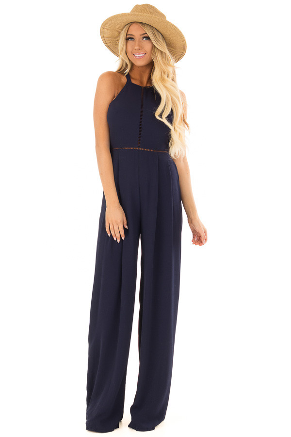 Navy Halter Jumpsuit with Cutout Detail front full body
