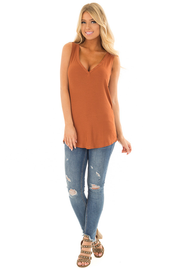 Caramel Ribbed Knit Buttoned V Neck Tank Top front full body