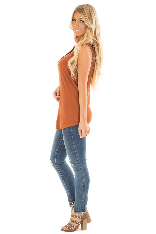 Caramel Ribbed Knit Buttoned V Neck Tank Top side full body