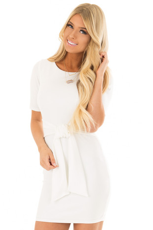 White Fitted Dress with Front Tie Detail front closeup