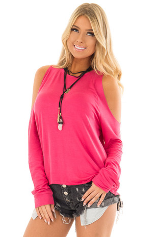 Candy Pink Cold Shoulder Long Sleeve Top front closeup