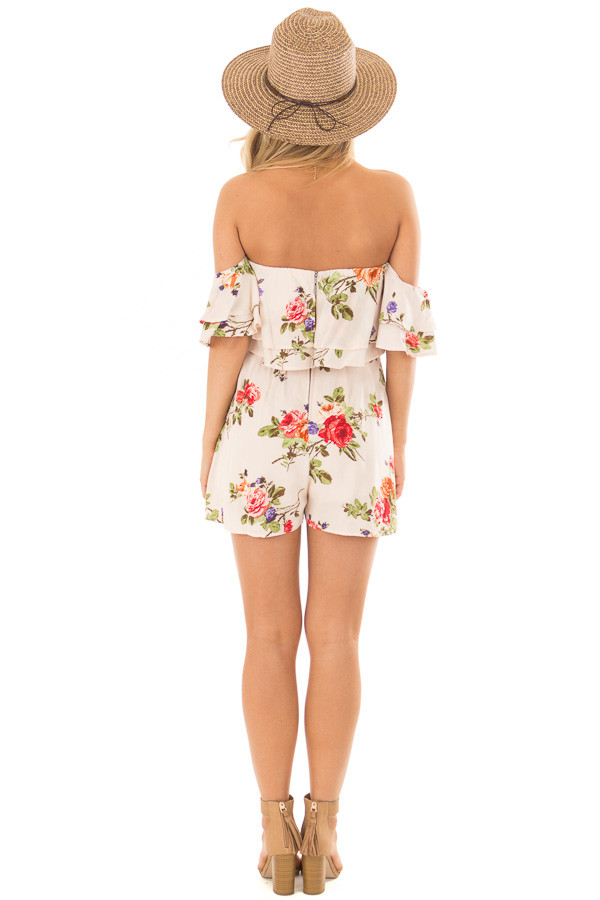 Cream Floral Print Off the Shoulder Romper back full body