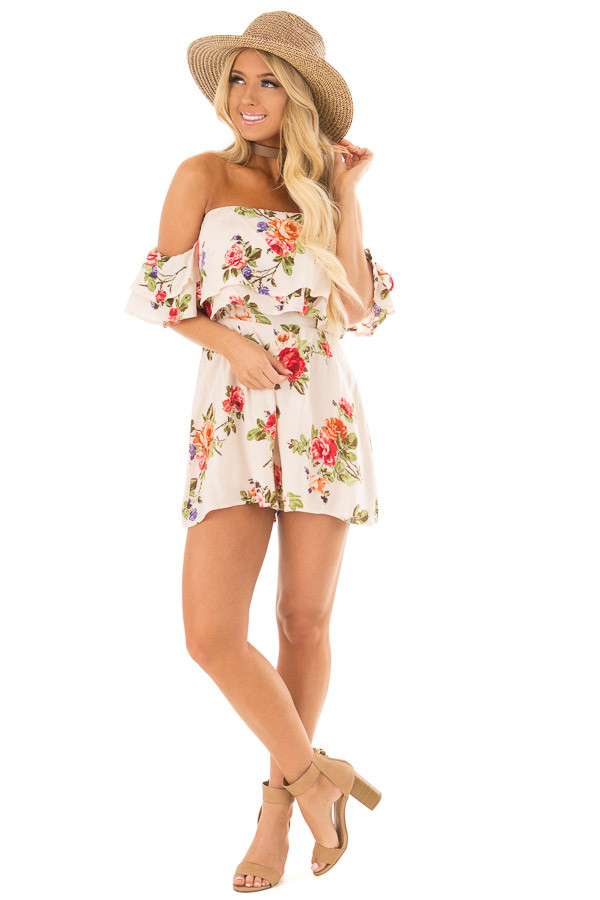 Cream Floral Print Off the Shoulder Romper front full body