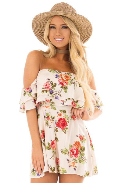Cream Floral Print Off the Shoulder Romper front closeup