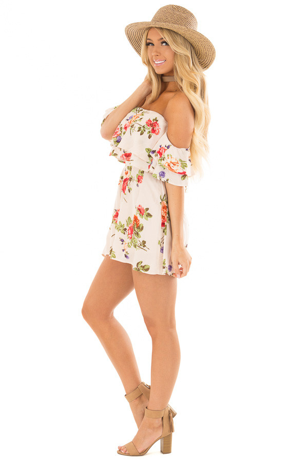 Cream Floral Print Off the Shoulder Romper side full body