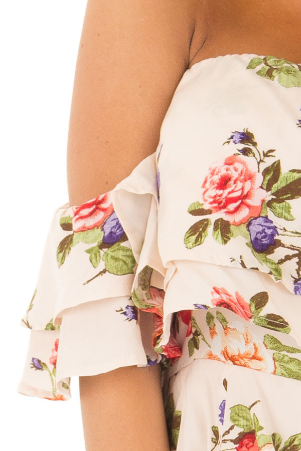 Cream Floral Print Off the Shoulder Romper front detail