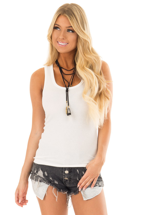 Off White Ribbed Knit Fitted Scoop Neck Tank Top front closeup