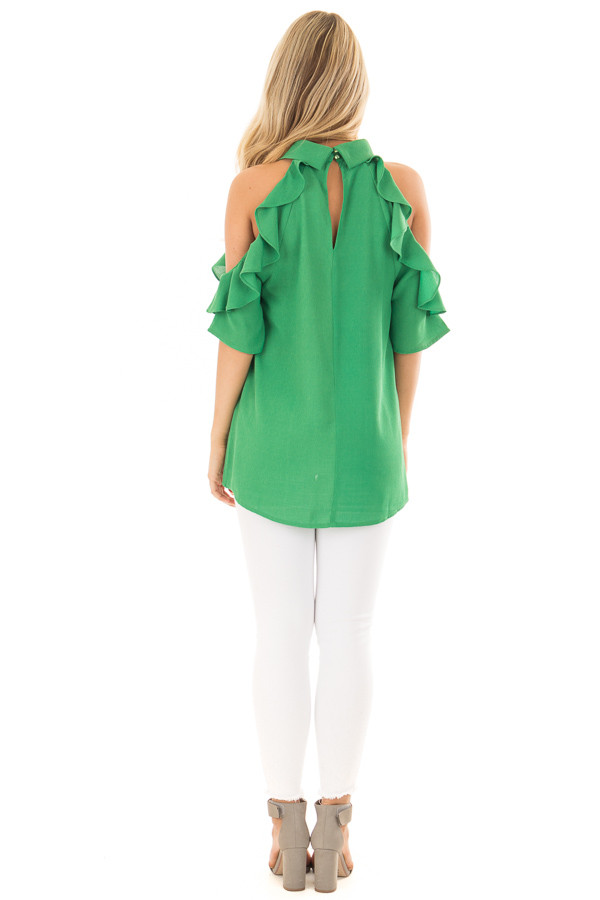 Apple Green Cold Shoulder Top with Ruffle Detail back full body