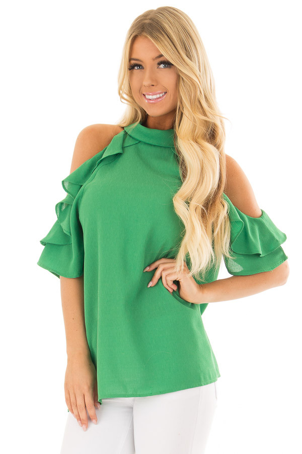 Apple Green Cold Shoulder Top with Ruffle Detail front closeup