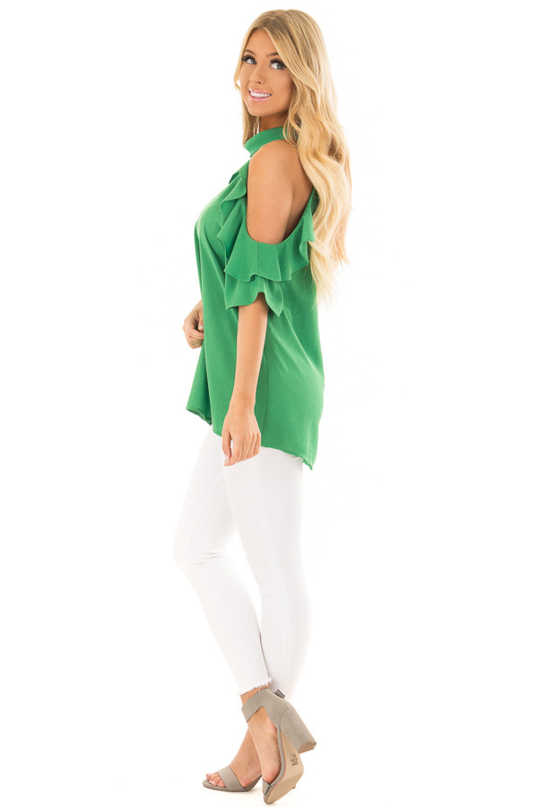 Apple Green Cold Shoulder Top with Ruffle Detail side full body
