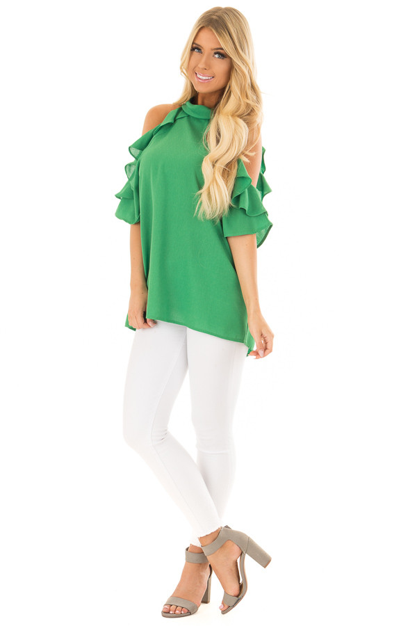Apple Green Cold Shoulder Top with Ruffle Detail front full body