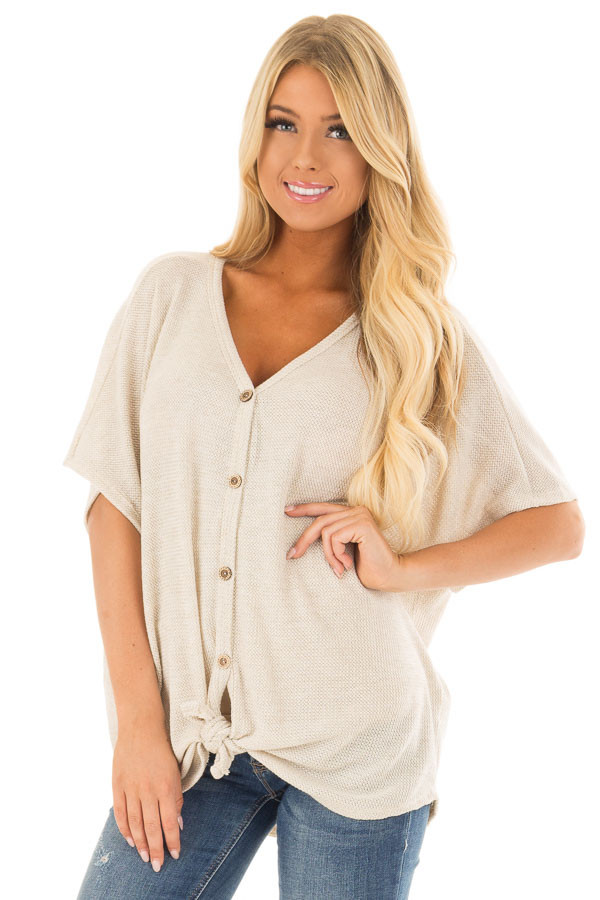 Oatmeal Button Down Short Sleeve Top with Front Tie front closeup