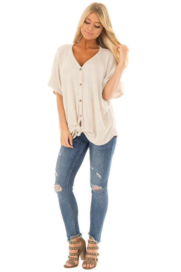 Oatmeal Button Down Short Sleeve Top with Front Tie front full body
