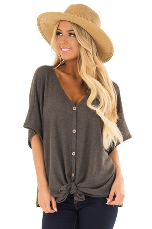Charcoal Button Down Short Sleeve Top with Front Tie front closeup