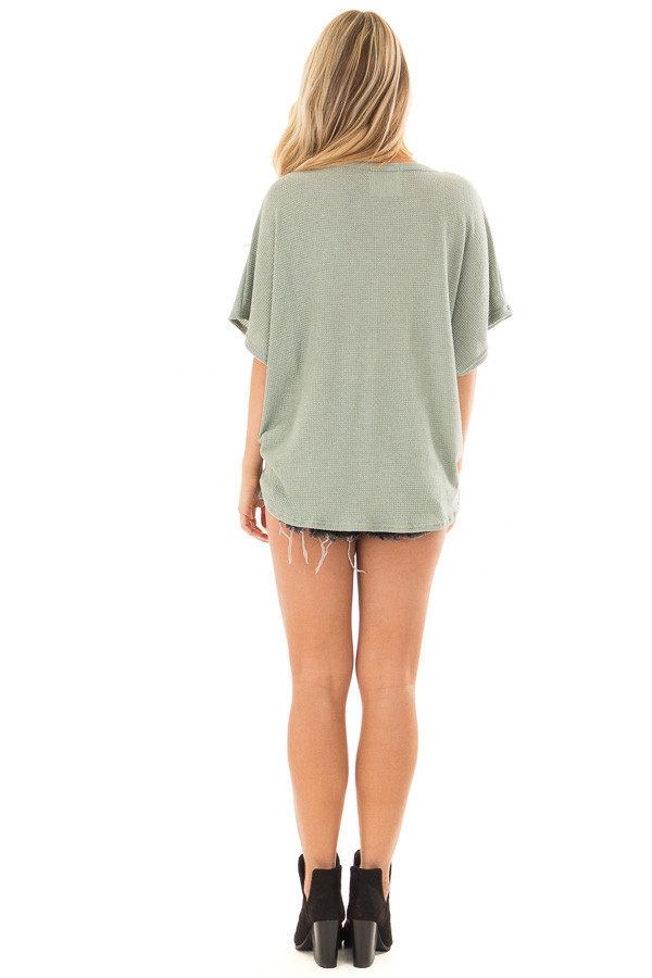 Sage Button Down Short Sleeve Top with Front Tie back full body