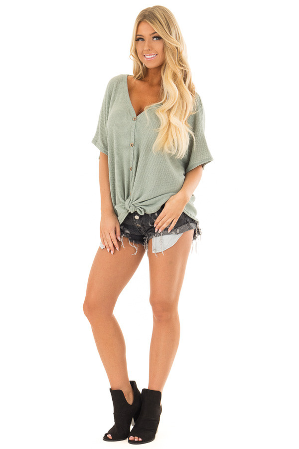 Sage Button Down Short Sleeve Top with Front Tie front full body