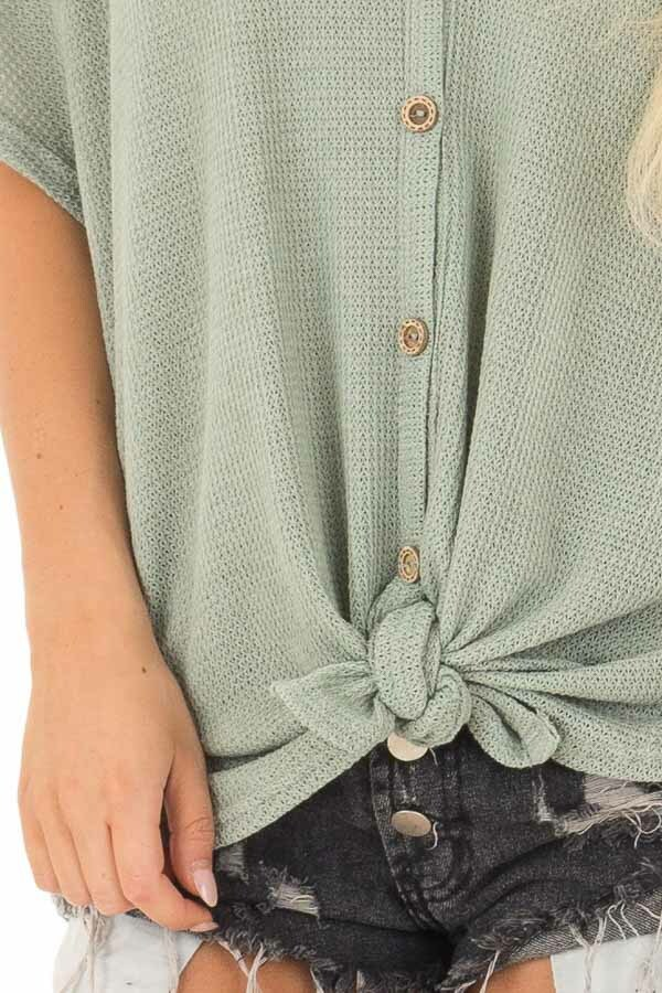 Sage Button Down Short Sleeve Top with Front Tie front detail