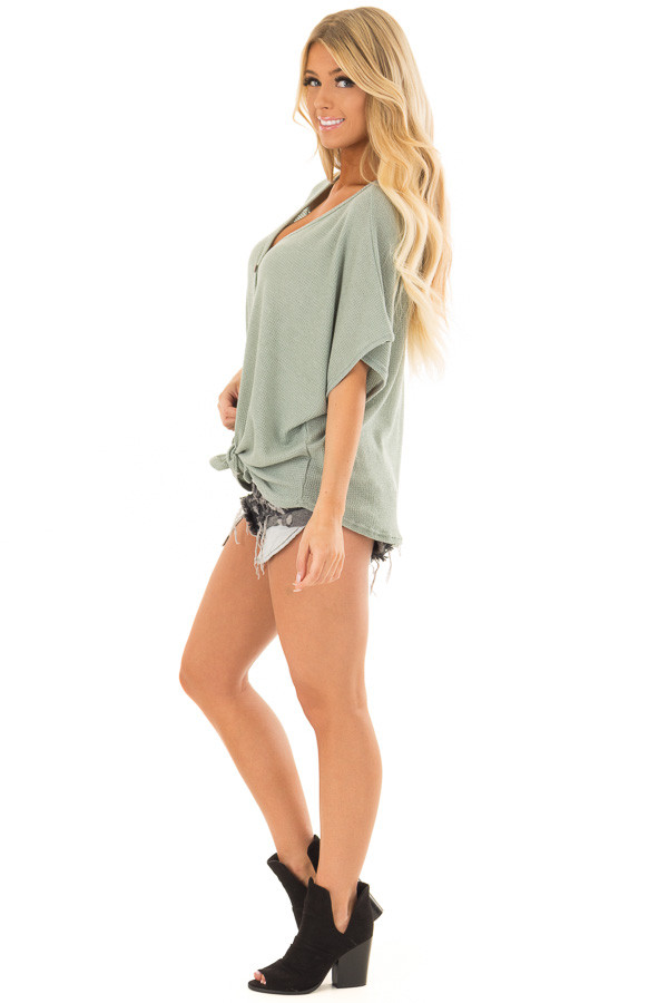 Sage Button Down Short Sleeve Top with Front Tie side full body