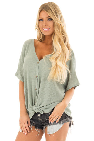 Sage Button Down Short Sleeve Top with Front Tie front closeup