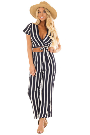 Navy and Ivory Striped Two Piece Set front full body