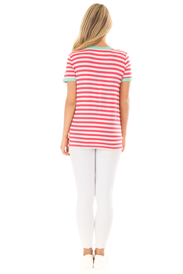 Punch Pink Striped Tee Shirt with Mint Details back full body