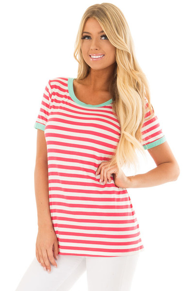 Punch Pink Striped Tee Shirt with Mint Details front closeup