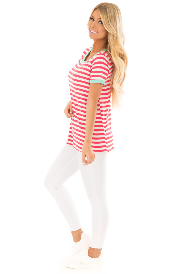 Punch Pink Striped Tee Shirt with Mint Details side full body