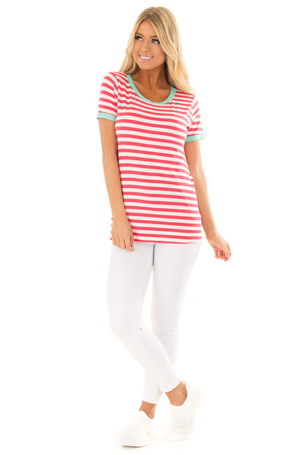Punch Pink Striped Tee Shirt with Mint Details front full body